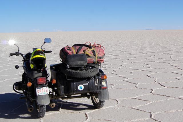 Still miles to travel across the salt flats.