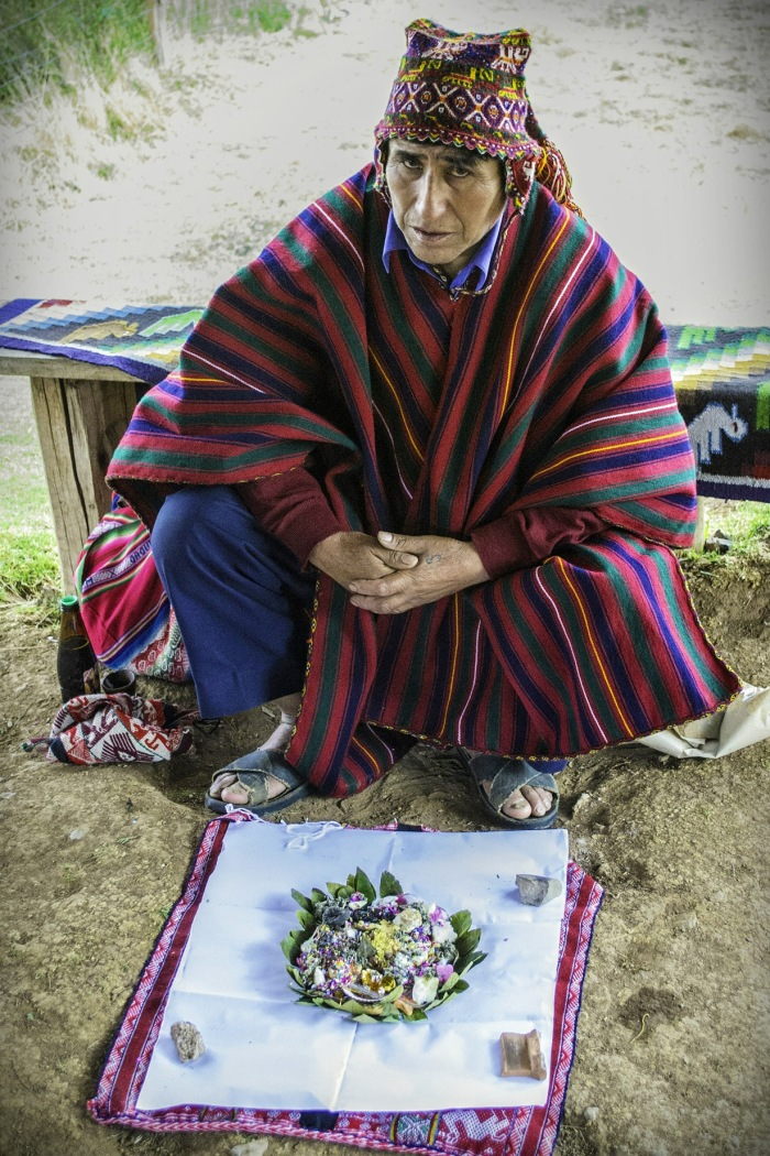 Peruvian Shaman with  Coca Leaves