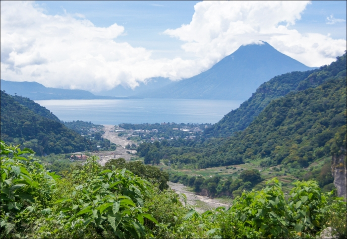 The view of Lake Atitlán as we leave Panajachel.