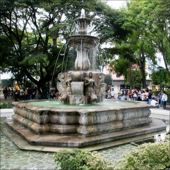Fountain in Antigua's Plaza Mayor.